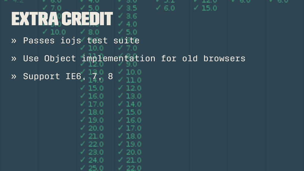 Extra credit » Passes iojs test suite » Use Obj...