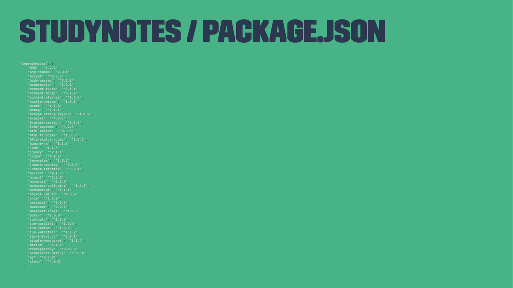 """studynotes / package.json """"dependencies"""": { """"MD..."""