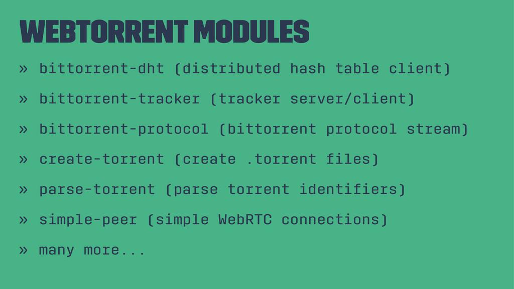 webtorrent modules » bittorrent-dht (distribute...