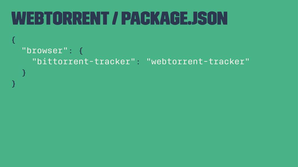 """webtorrent / package.json { """"browser"""": { """"bitto..."""