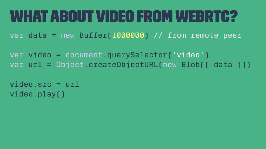 what about video from WebRTC? var data = new Bu...