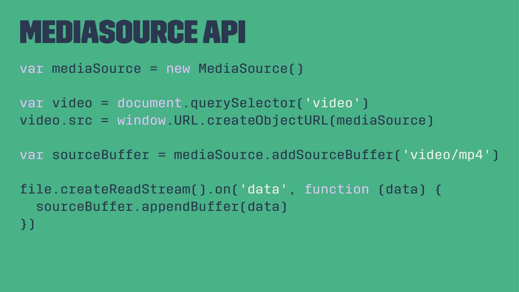 MediaSource API var mediaSource = new MediaSour...