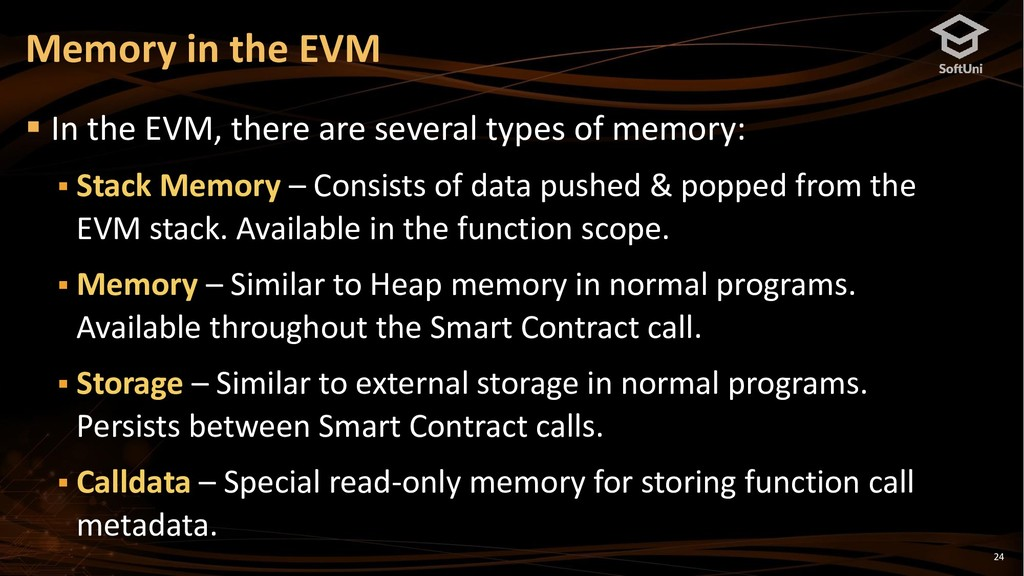 24 ▪ In the EVM, there are several types of mem...