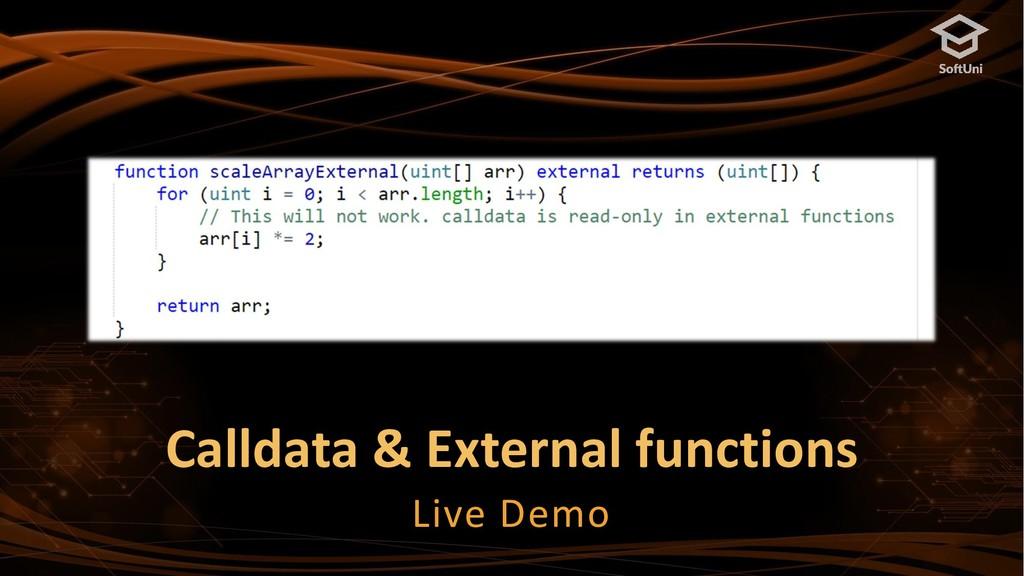 Calldata & External functions Live Demo