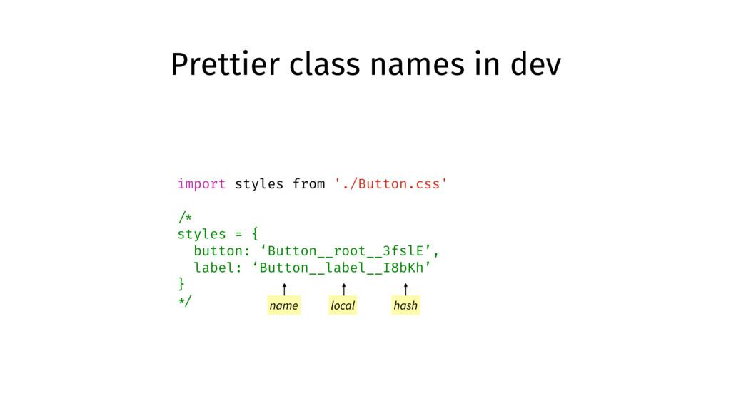 Prettier class names in dev import styles from ...