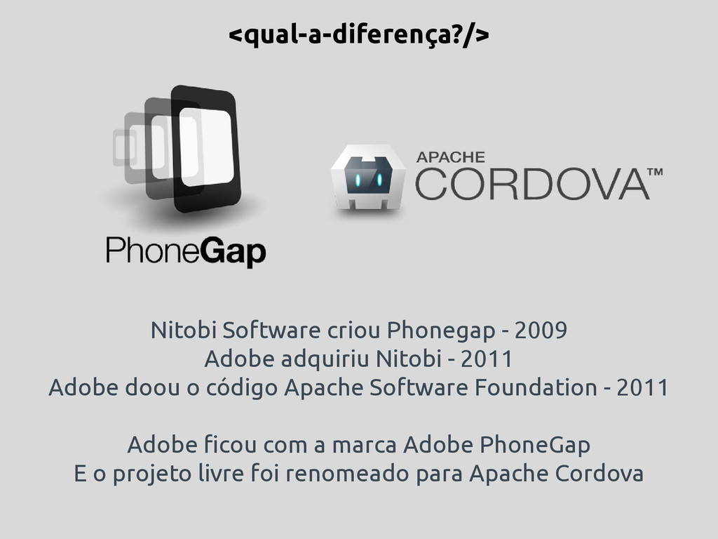 Nitobi Software criou Phonegap - 2009 Adobe adq...