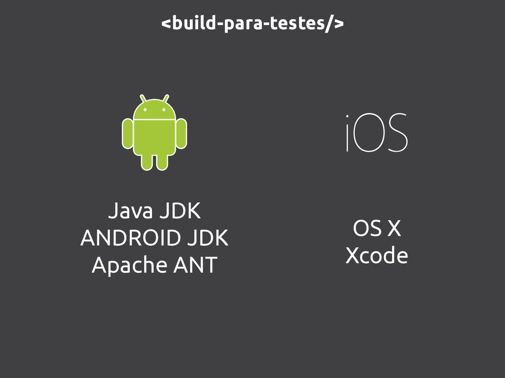 <build-para-testes/> Java JDK ANDROID JDK Apach...