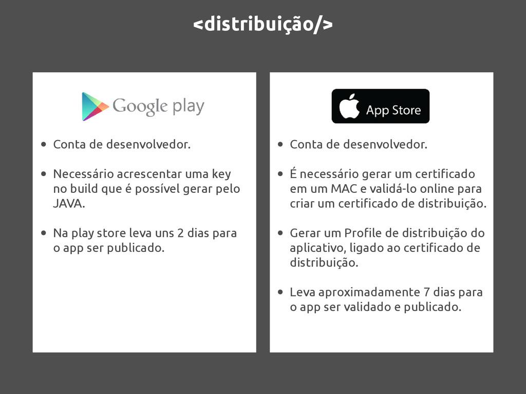 <distribuição/> • Conta de desenvolvedor. • Nec...