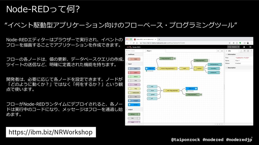 6 Node-REDエディターはブラウザーで実⾏され、イベントの フローを描画することでアプリ...