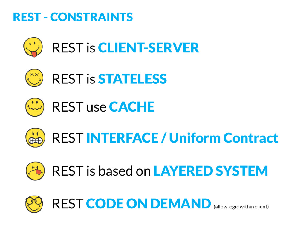 REST - CONSTRAINTS REST is CLIENT-SERVER REST u...