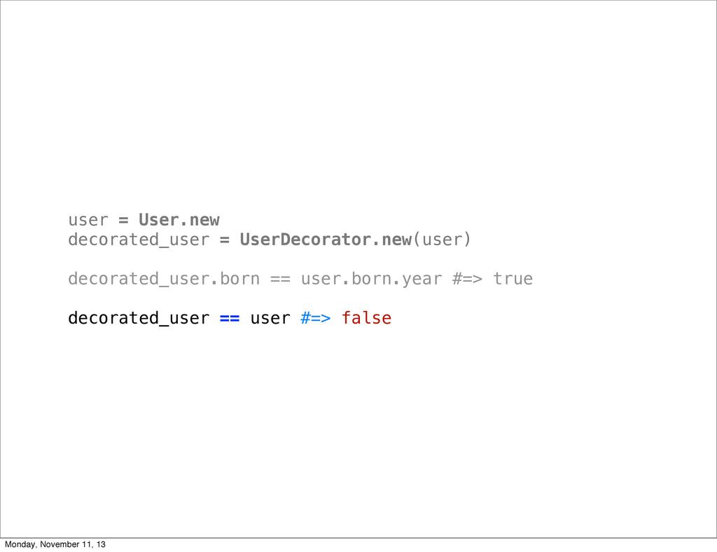 user = User.new decorated_user = UserDecorator....