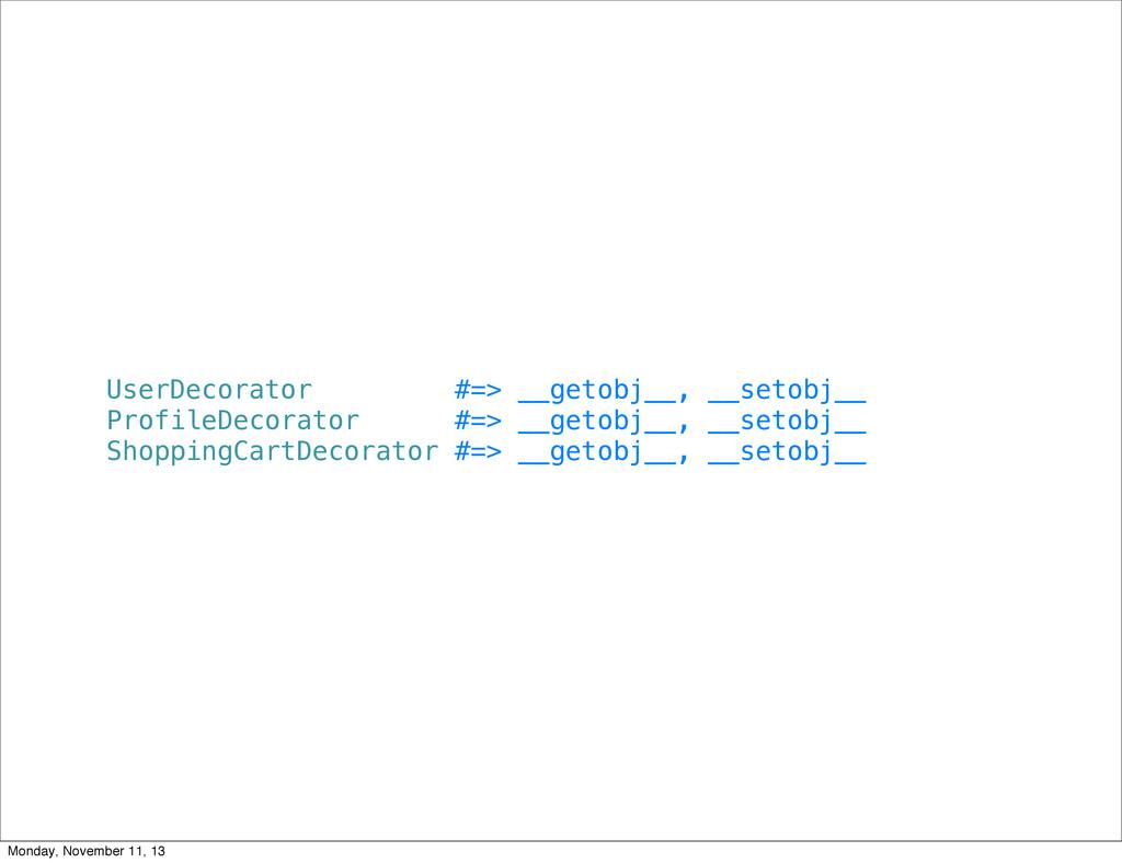 UserDecorator #=> __getobj__, __setobj__ Profil...