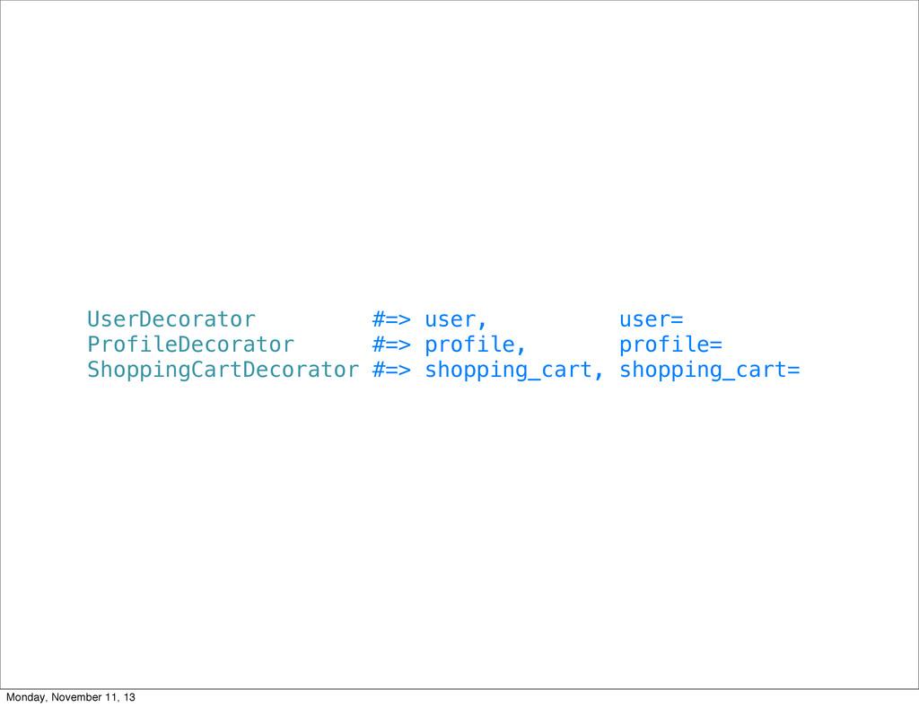 UserDecorator #=> user, user= ProfileDecorator ...