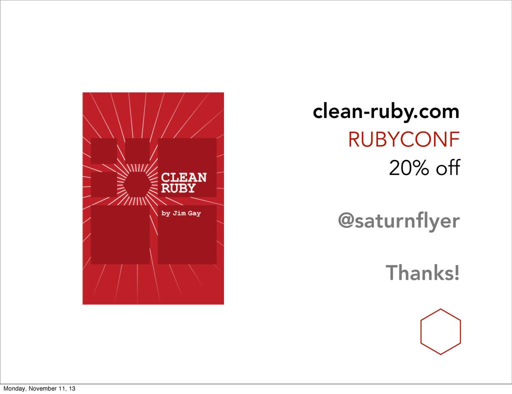 clean-ruby.com RUBYCONF 20% off @saturnflyer Th...
