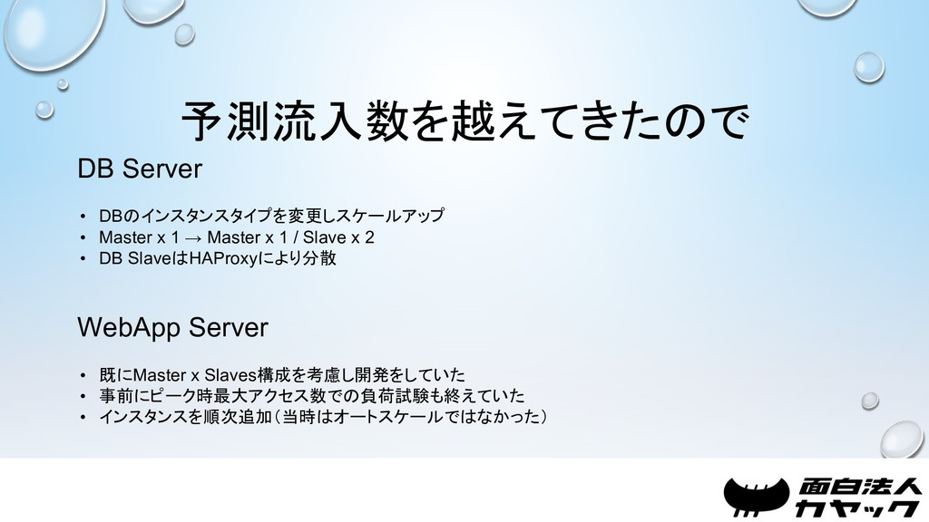 予測流入数を越えてきたので DB Server • DBのインスタンスタイプを変更しスケールア...