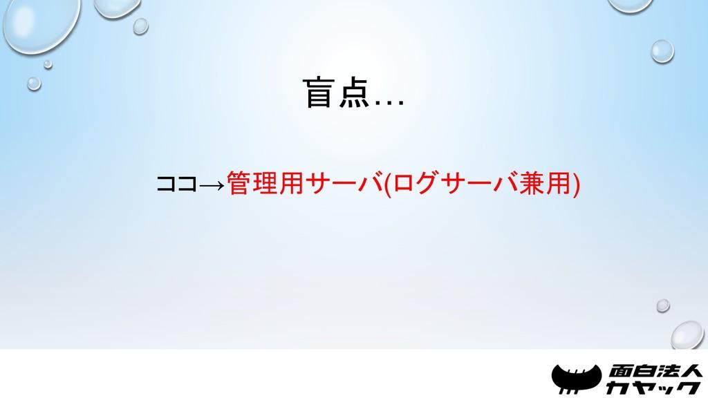 盲点… ココ→管理用サーバ(ログサーバ兼用)