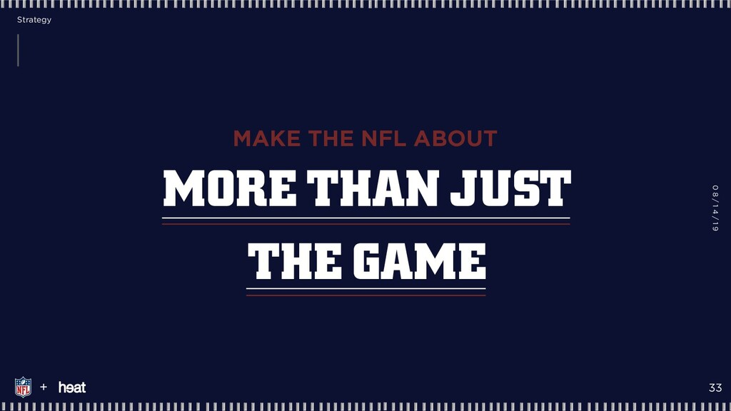 MORE THAN JUST THE GAME MAKE THE NFL ABOUT + 20...