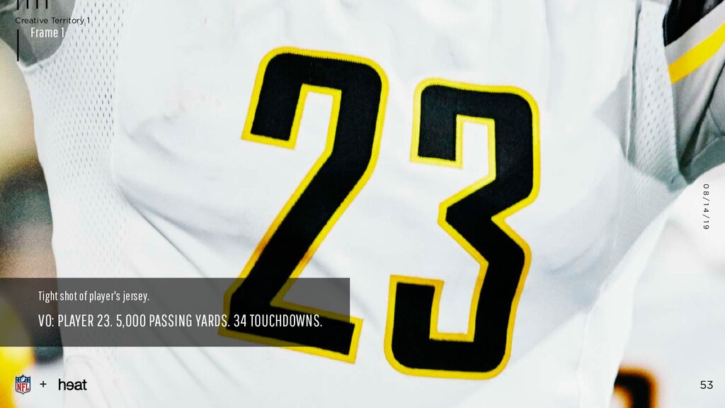 Tight shot of player's jersey. VO: PLAYER 23. 5...