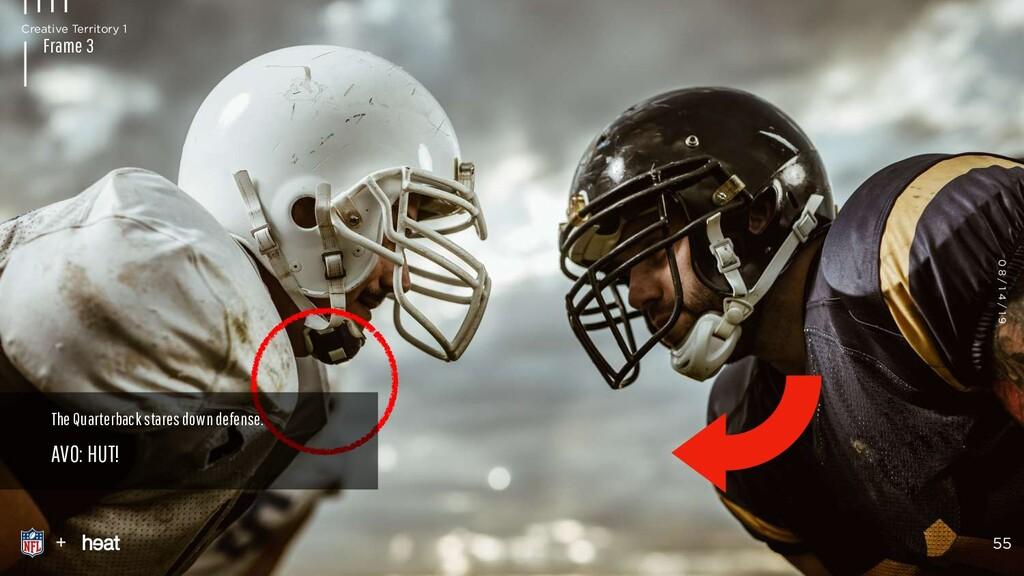 The Quarterback stares down defense. AVO: HUT! ...
