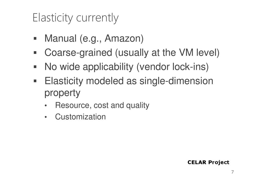 Elasticity currently Manual (e.g., Amazon) Coar...