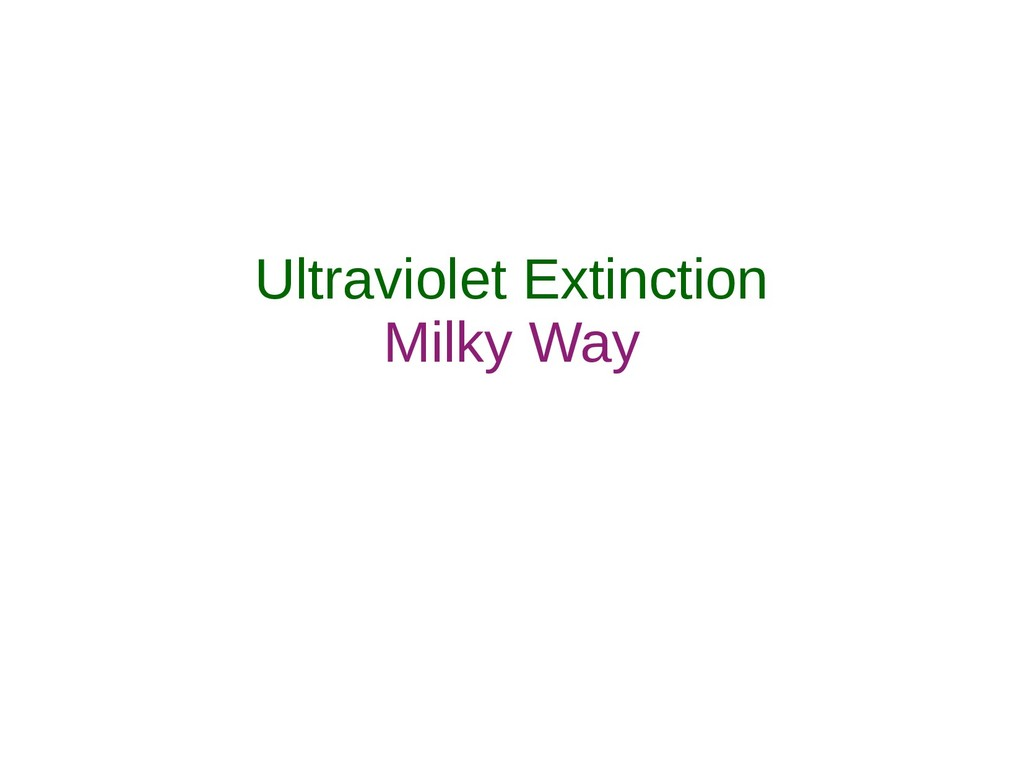 Ultraviolet Extinction Milky Way