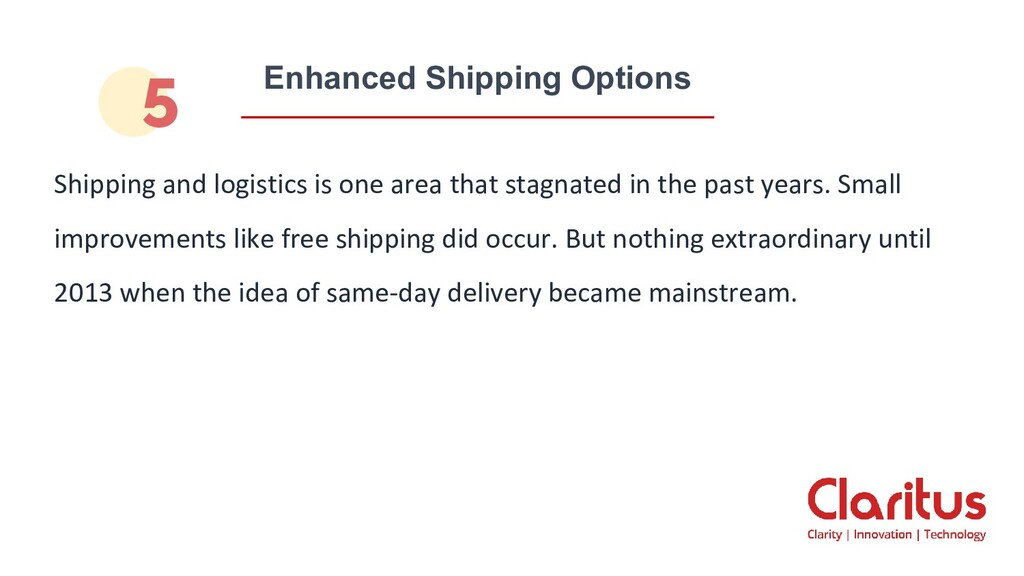 Enhanced Shipping Options Shipping and logistic...