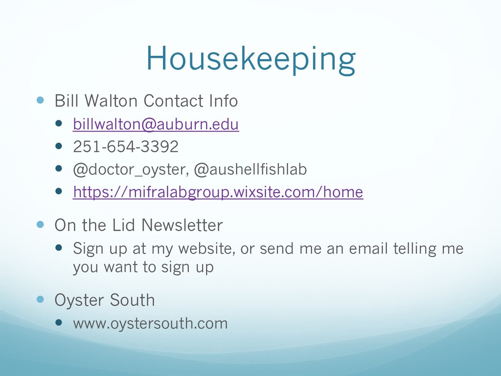 Housekeeping — Bill Walton Contact Info — billw...