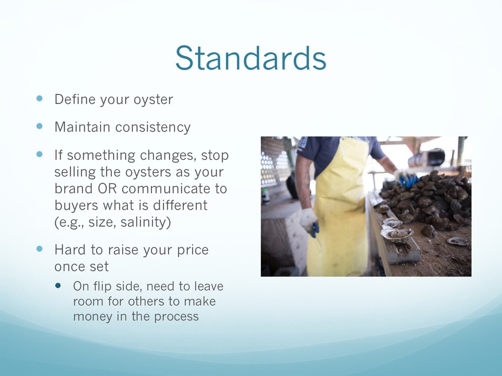 Standards — Define your oyster — Maintain consi...