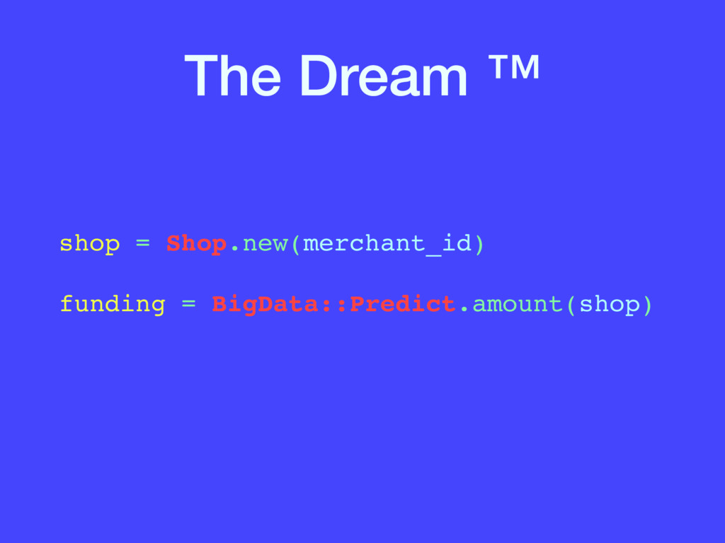 The Dream ™ shop = Shop.new(merchant_id)