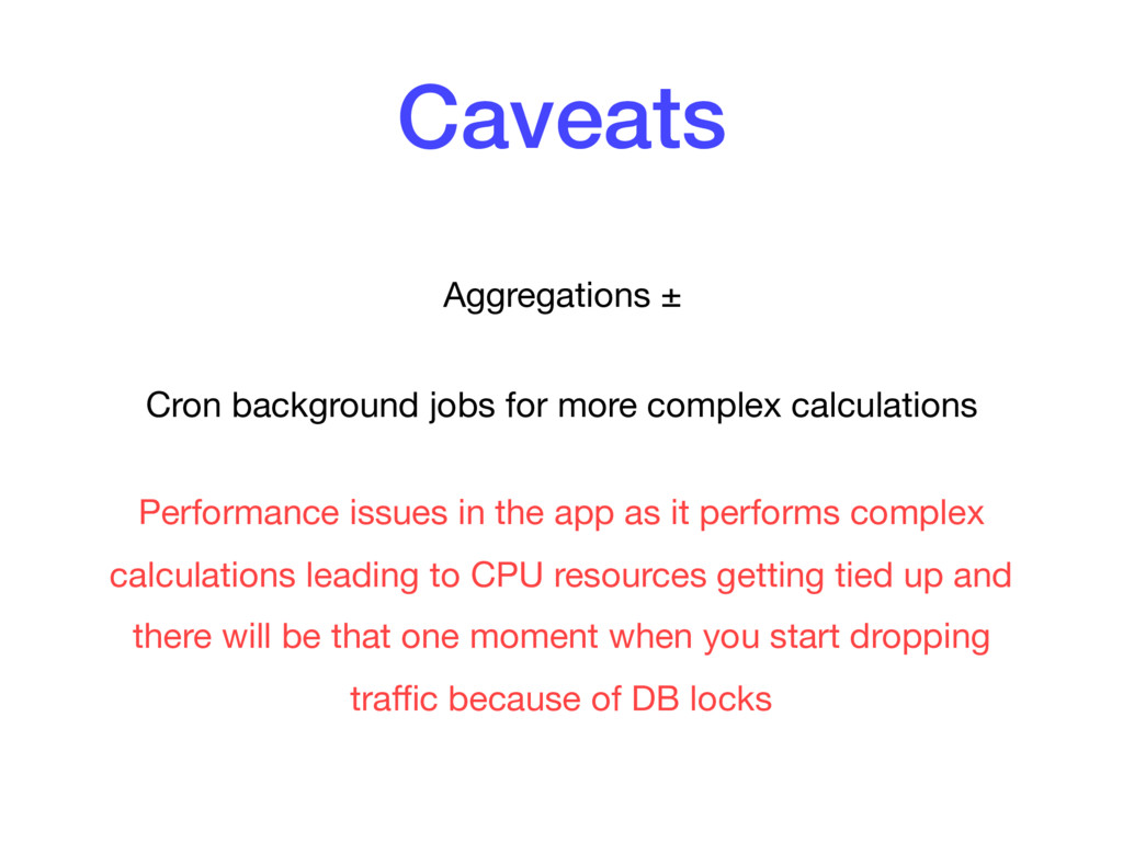 Caveats Aggregations ±  Cron background jobs fo...