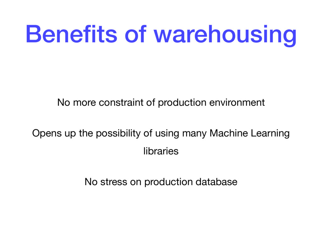 Benefits of warehousing No more constraint of pr...