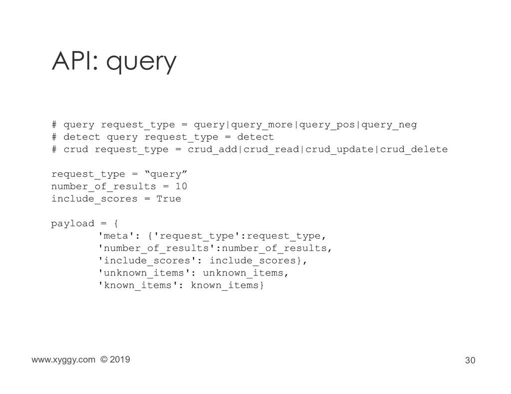 30 API: query www.xyggy.com © 2019 # query requ...