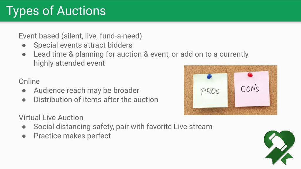 Types of Auctions Event based (silent, live, fu...