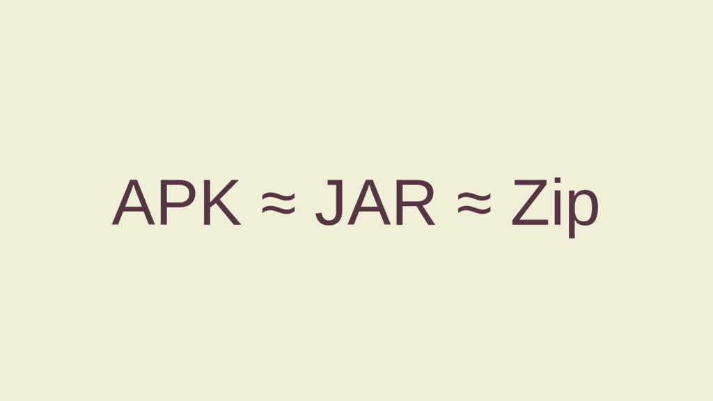 APK ≈ JAR ≈ Zip