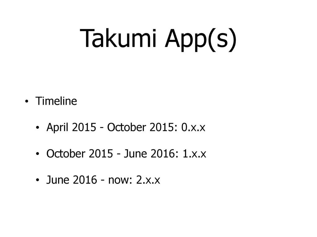 Takumi App(s) • Timeline • April 2015 - October...