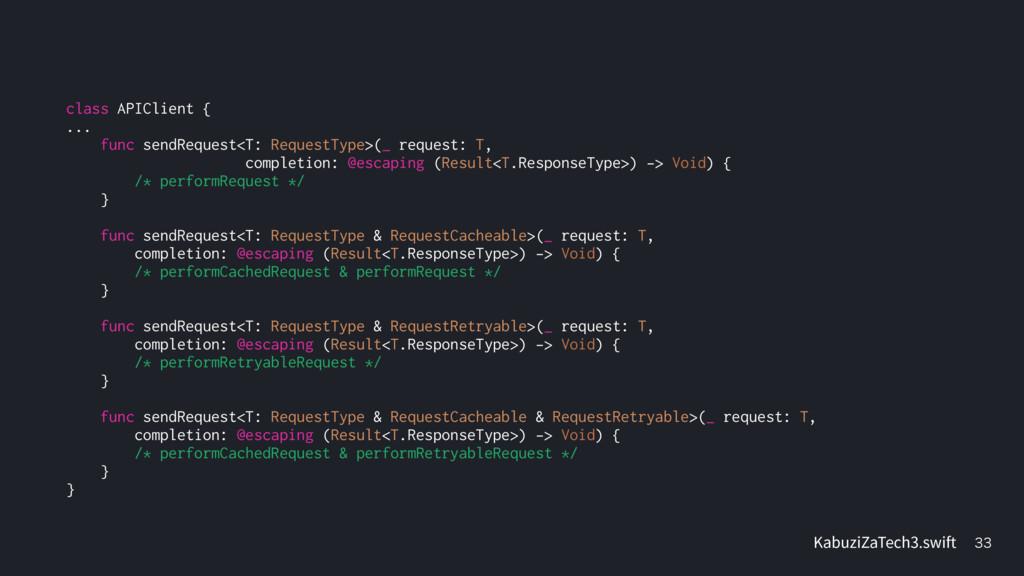 class APIClient { ... func sendRequest<T: Reque...