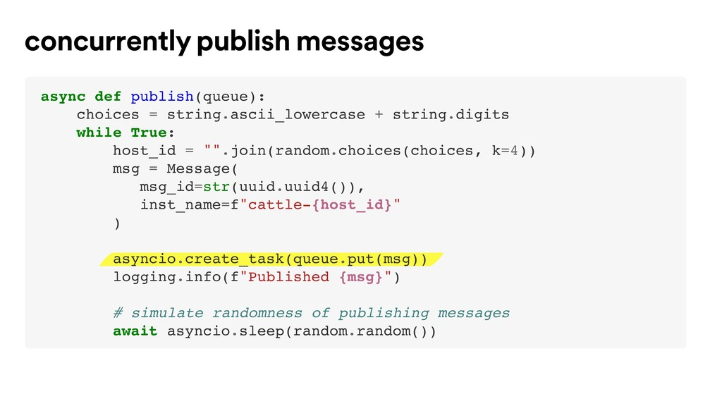 concurrently publish messages async def publish...