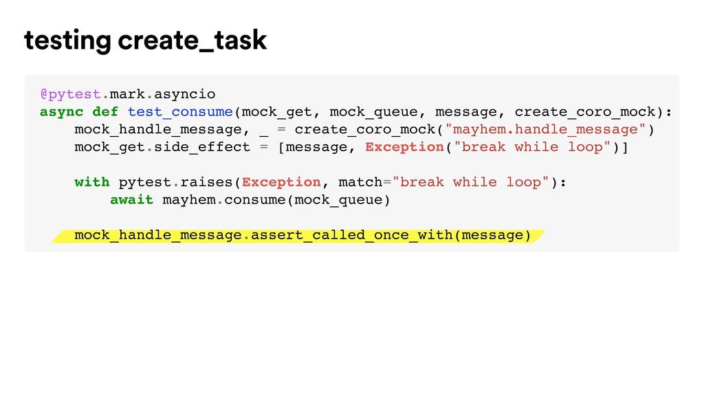 testing create_task @pytest.mark.asyncio async ...
