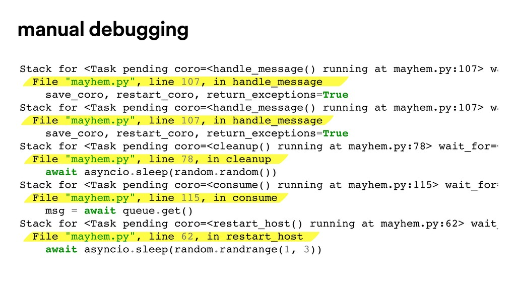 Stack for <Task pending coro=<handle_message() ...