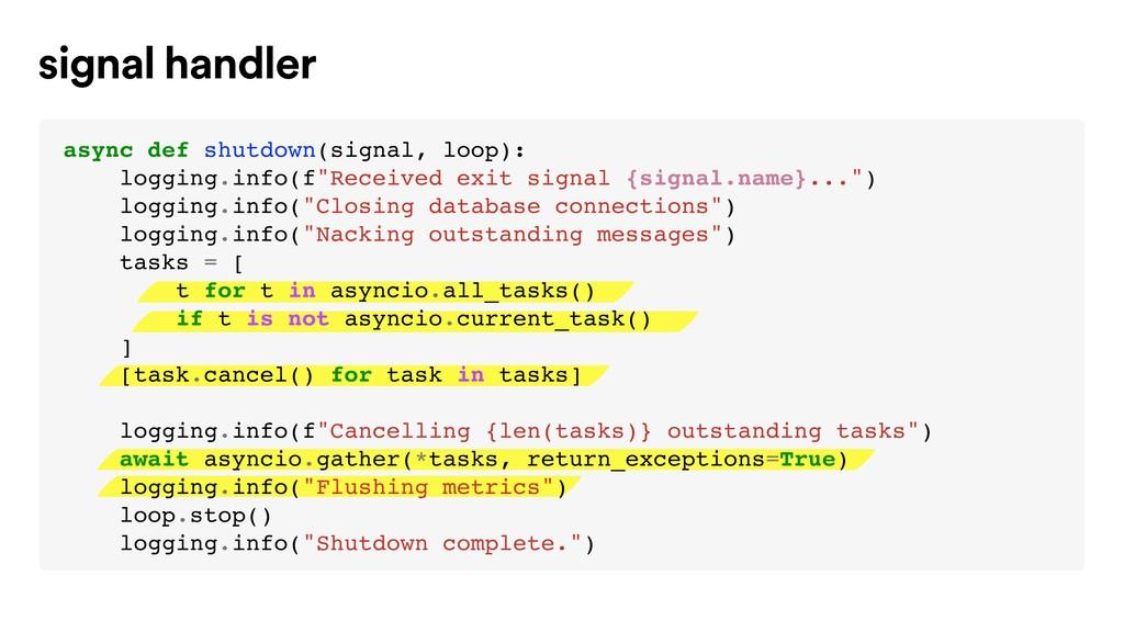 signal handler async def shutdown(signal, loop)...
