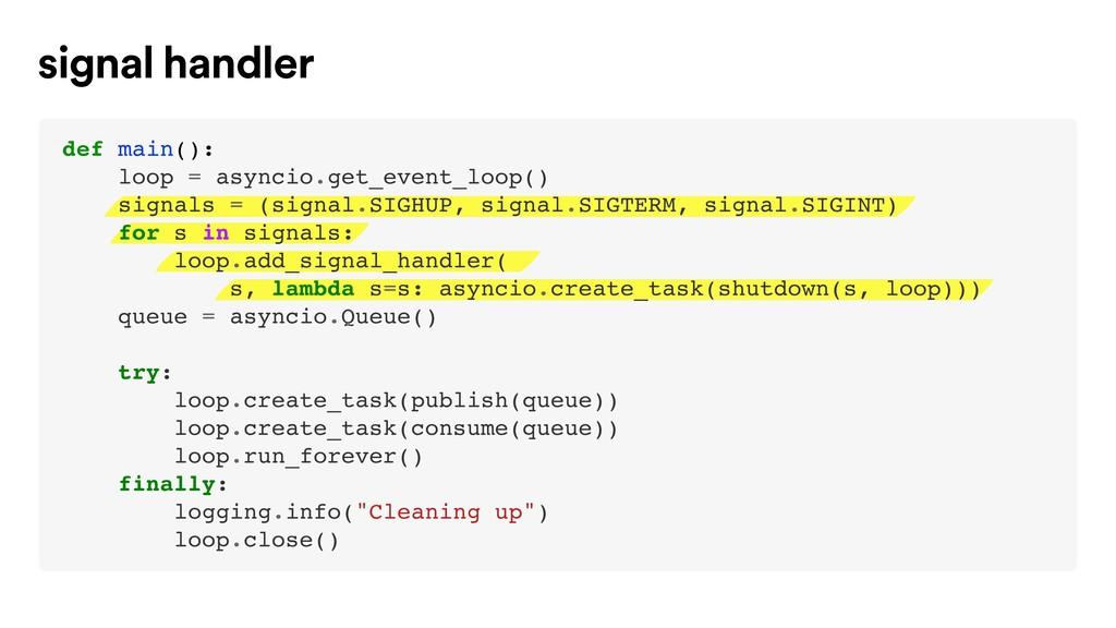 def main(): loop = asyncio.get_event_loop() sig...
