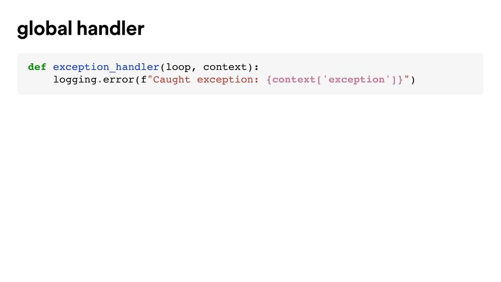 def exception_handler(loop, context): logging.e...