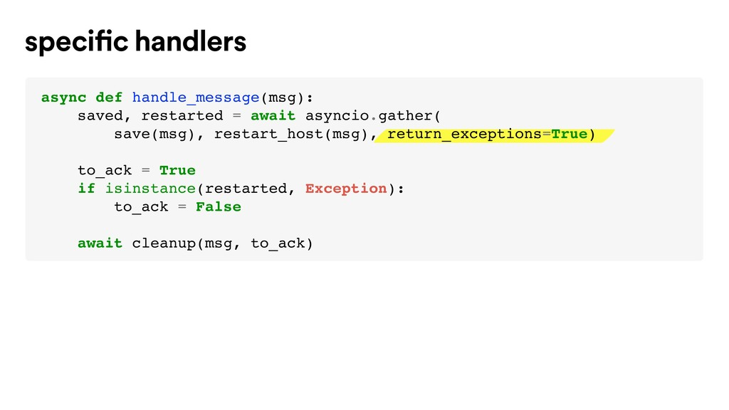 specific handlers async def handle_message(msg)...