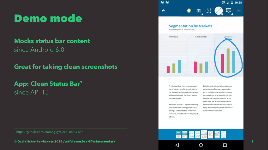 Demo mode Mocks status bar content since Androi...