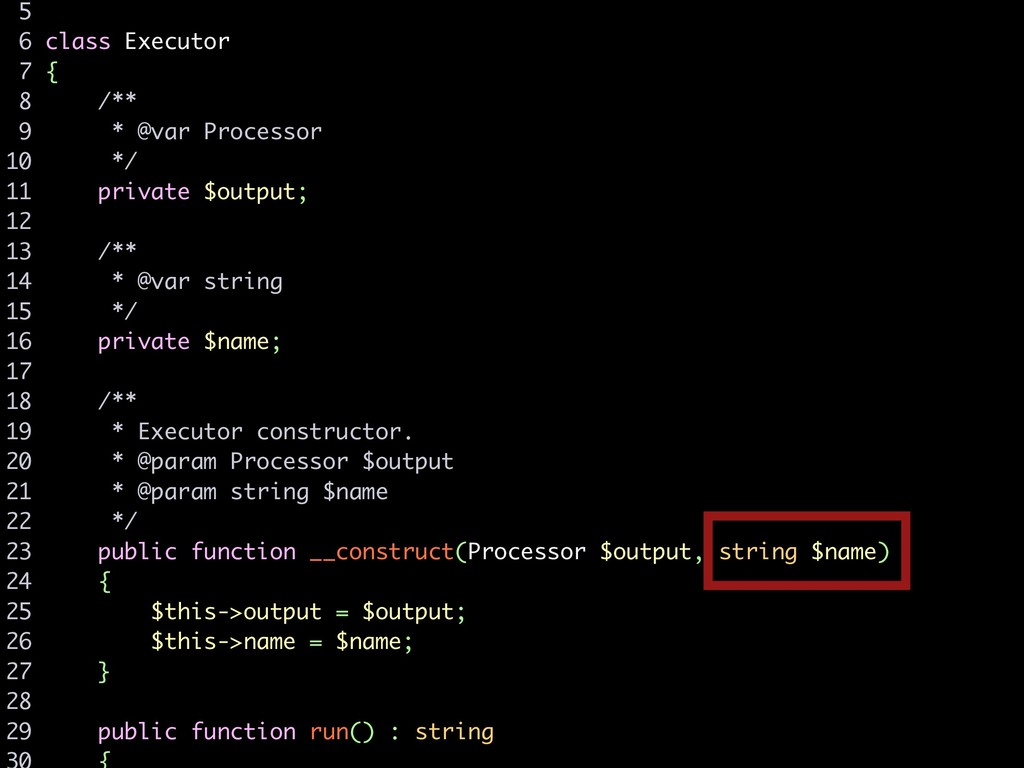 5 6 class Executor 7 { 8 /** 9 * @var Processor...