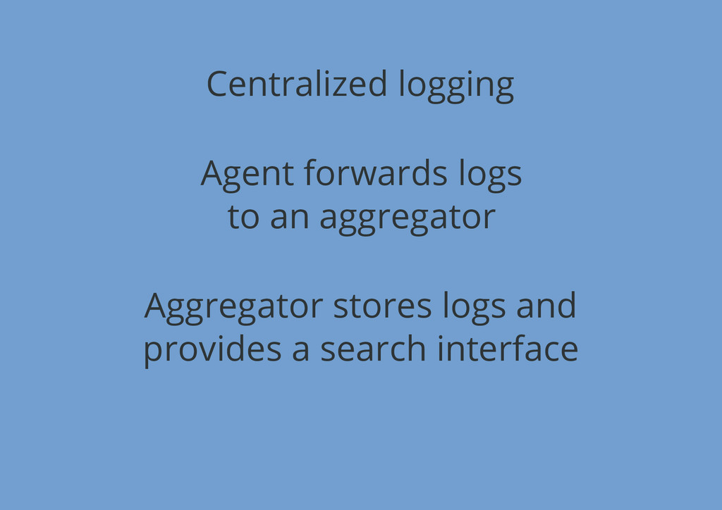 Centralized logging Agent forwards logs to an a...