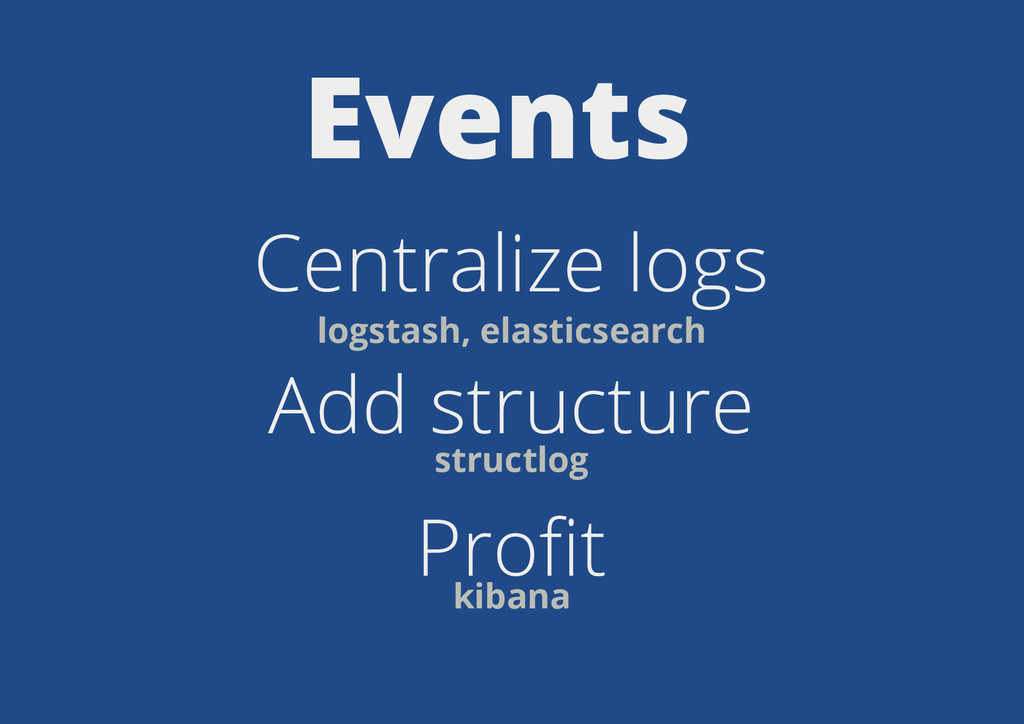 Events Centralize logs Add structure Profit logs...