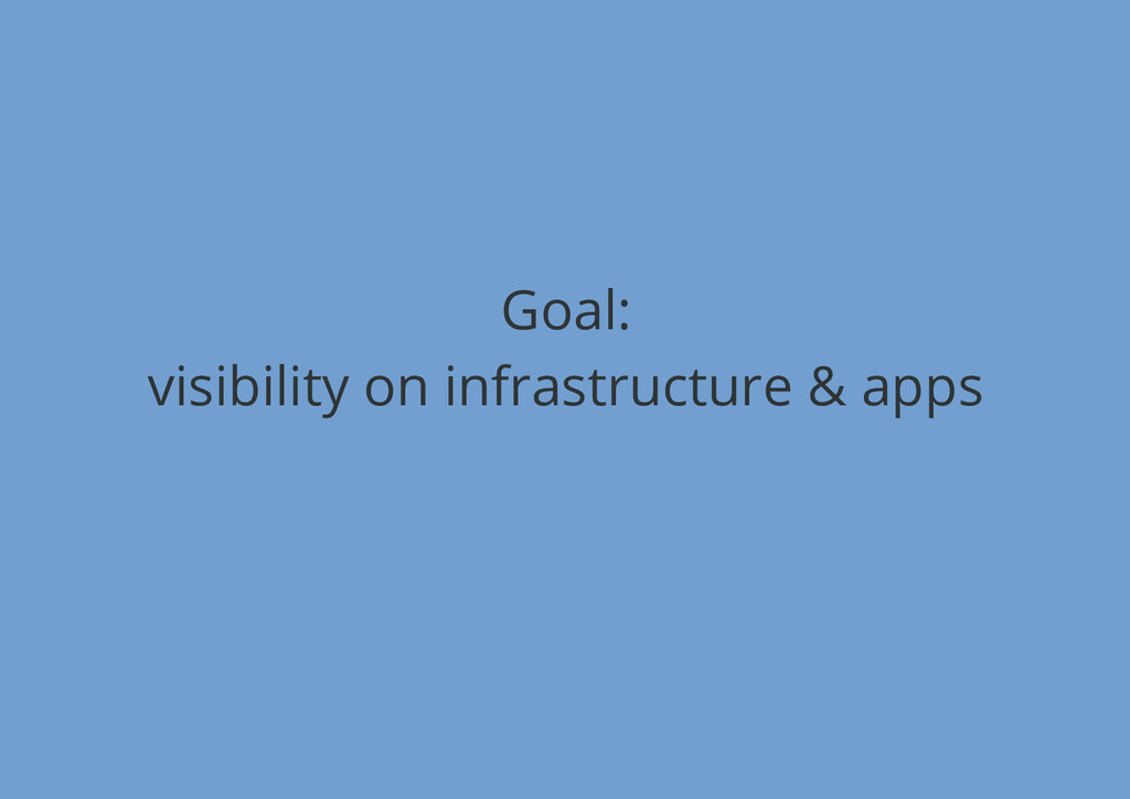 Goal: visibility on infrastructure & apps