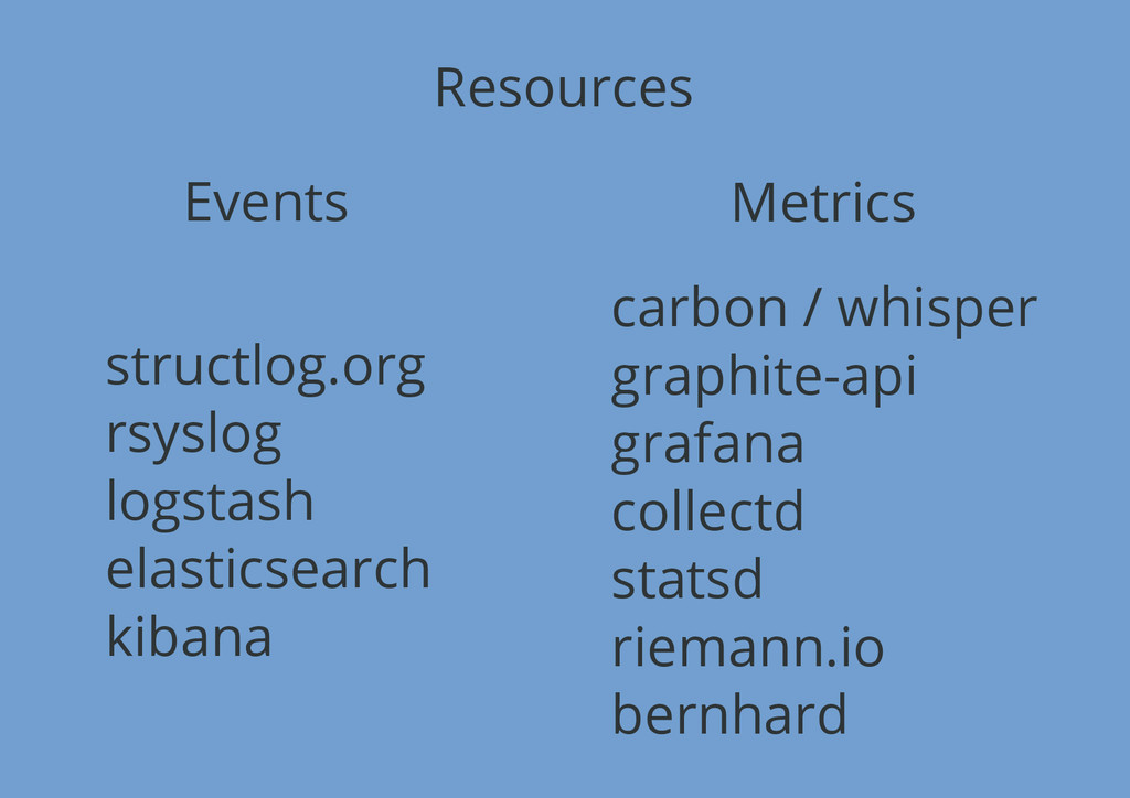 Resources Events Metrics structlog.org rsyslog ...