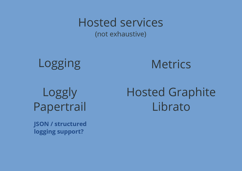 Hosted services (not exhaustive) Logging Metric...